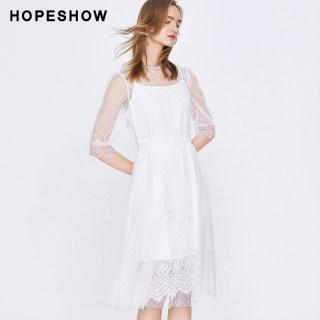 网纱连衣裙女红袖2019春夏新款女装波点中长款蕾丝连衣裙