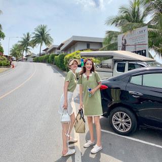 2019新款闺蜜装夏装短袖冰丝针织连衣裙修身显瘦直筒裙小清新绿色polo裙