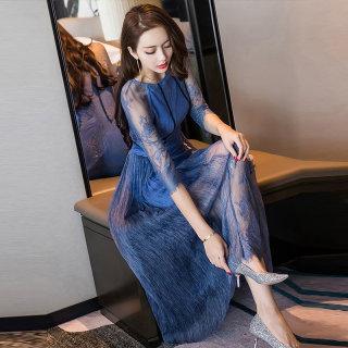 2019春季新款女纯色中长款修身网纱袖气质连衣裙