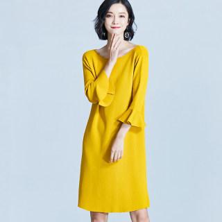 冰丝针织连衣裙女韩版春装2019新款韩版春秋中长款薄款喇叭袖裙子