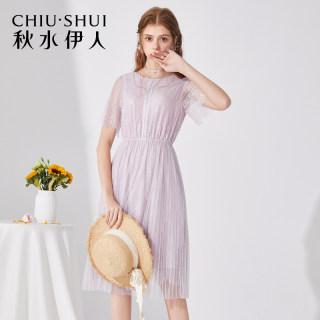法式蕾丝连衣裙2019新款夏装女气质睫毛短袖裙子