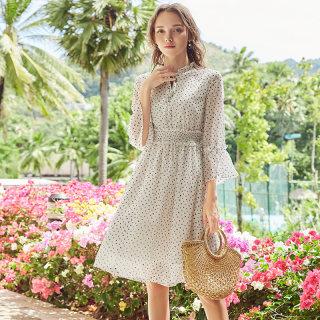 2019春季新款韩版雪纺的法国小众连衣裙 海边度假裙子女
