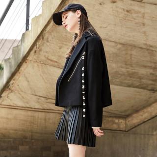 尔毛呢西装外套大衣女韩版学生百搭休闲时尚黑色翻领短款呢子外套大衣女