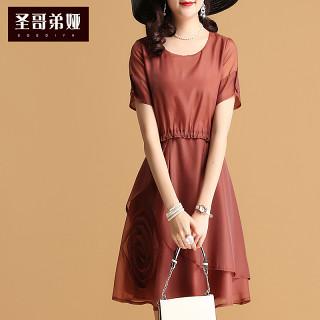 雪纺连衣裙夏季新款女短袖韩版2019遮肚显瘦纯色打底裙子