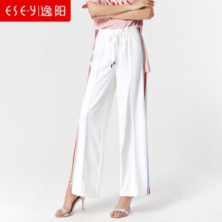 2019夏季新款阔腿裤女宽松显瘦时尚侧开叉松紧腰直筒阔脚长裤