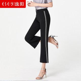 女裤2019夏季新款显瘦侧边条八分微喇裤女宽松黑色小喇叭裤子