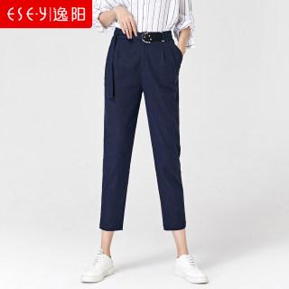 2019夏季新款九分高腰显瘦亚麻哈伦裤女宽松休闲棉麻裤子女