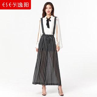 坠感阔腿裤女2019夏季新款宽松显瘦背带条纹时尚半透视长裤薄