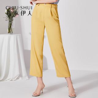 休闲裤2019夏新款女装纯色中腰雪纺显瘦直筒西装裤