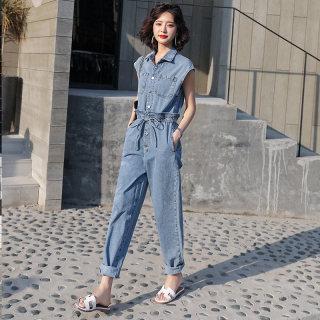 2019年夏季时尚潮流气质舒适圆领高腰简约百搭个性纯色连体裤