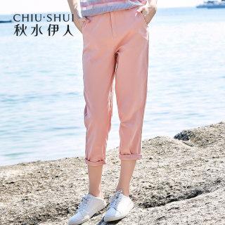 休闲裤2019夏装新款女装九分裤宽松纯色工装牛仔裤