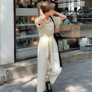 2019夏装新款女装韩版宽松工装裤连体九分休闲裤