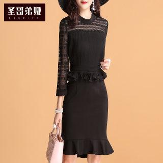 黑色连衣裙夏2019新款女装长袖修身显瘦气质淑女一步裙