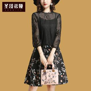 春季新款女装2019蕾丝拼接七分袖上衣时尚碎花气质半身裙