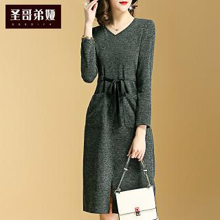 针织连衣裙女韩版春装2019新款女装长袖修身显瘦气质中长款一步裙