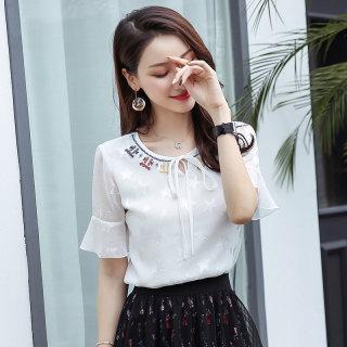 2019夏装新款韩版大码女装雪纺衫宽松显瘦白色女雪纺短袖上衣女夏季