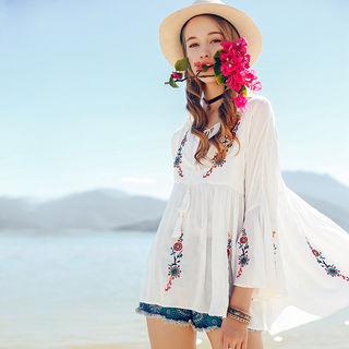 【抽绳圆领 花朵刺绣 】浪漫仙女风圆领清新刺绣七分袖雪纺衫