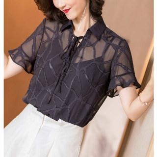 2019夏季新款知性优雅荷叶袖修身显瘦短袖衬衫薄款雪纺衫女