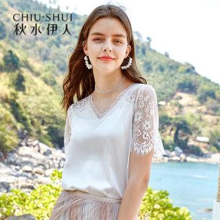 雪纺衫2019夏新款女装V领超仙蕾丝镂空短袖白色上衣
