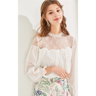 白衬衫2019夏装新款女装喇叭袖纯色蕾丝显瘦上衣雪纺衫