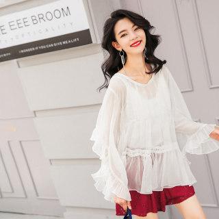 衣仙洋气小衫女2019新款春装白色遮肚子显瘦蕾丝打底衫