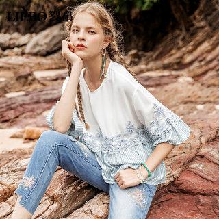 圆领喇叭袖雪纺衫女2019新款夏装很仙的洋气宽松气质绣花上衣