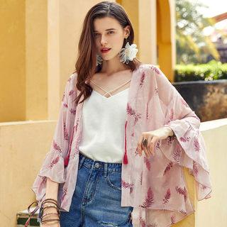 2019春装新款气质粉色印花荷叶边长袖雪纺衫时尚甜美休闲洋气