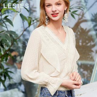 2019春女装新款 很仙的上衣超仙米色V领长袖雪纺衫两件套