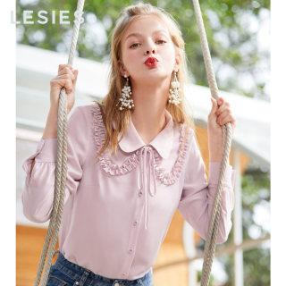 2019春夏新款 仙气雪纺衫女粉色圆领木耳边长袖衬衫上衣