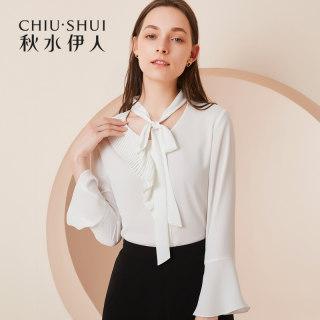2019春秋新款女装纯色系带圆领喇叭袖上衣直筒雪纺衬衫