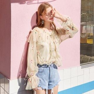雪纺衫女2019夏装新款长袖洋气小衫女刺绣v领喇叭袖上衣