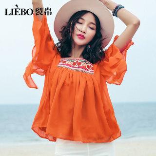 2019新款春夏时尚小方领民族风刺绣清爽宽松温柔短袖雪纺衫女