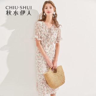 雪纺衫2019夏装新款女装印花短袖洋气超仙系带衬衫上衣女