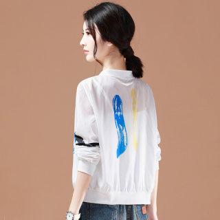 2019夏装新款薄款短外套印花白色空调衫