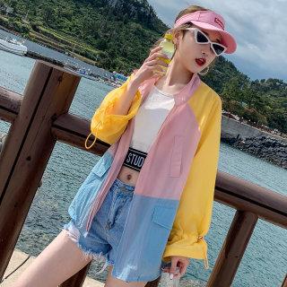 宽松显瘦长袖防晒衫女2019夏季撞色棒球服防晒服学生短外套