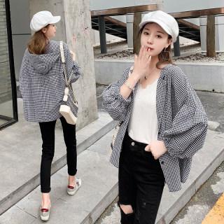 新款宽松外套韩版薄连帽格子衬衫女设计感小众七分袖