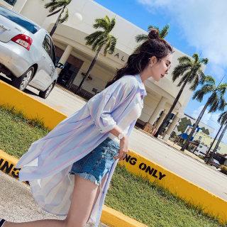 防晒开衫女夏季新款中长款空调衫韩版宽松衬衫百搭衣服透气薄外套