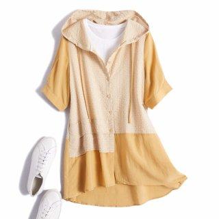 2019夏季新款女式宽松休闲撞色拼接连帽衬衫式外套