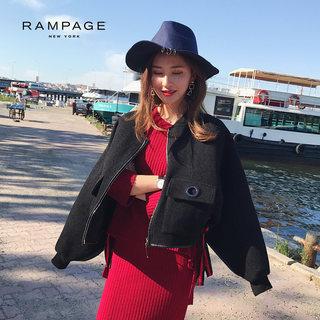 春秋季时尚女装短款潮流斗篷夹克女士拉链立领落肩袖加厚毛呢外套