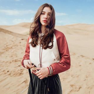 春季新款时尚显瘦上衣宽松韩版长袖外套拉链棒球服女