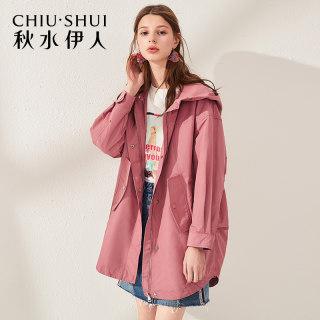 外套2019春装新款女装简约纯色连帽休闲工装风舒适上衣
