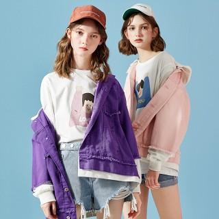 早春牛仔开衫潮2019春装新款假两件外套韩版学生超火上衣