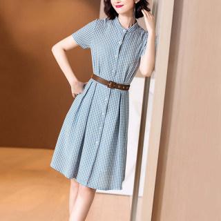 2019夏季新款小清新减龄蓝白格子衬衫裙收腰显瘦中长连衣裙