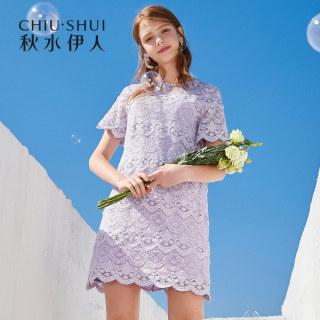 连衣裙2019夏新款女装简约纯色蕾丝镂空很仙的淑女裙子