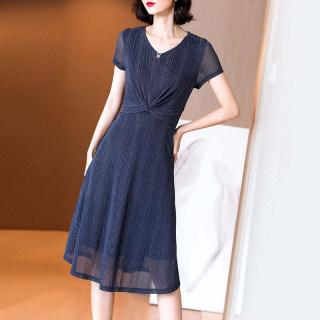 2019夏季新款时尚气质优雅A字裙收腰修身显瘦V领针织连衣裙