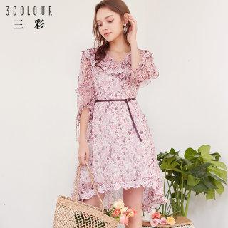 2019夏季新款 V领荷叶边很仙的法国小众印花雪纺桔梗连衣裙女