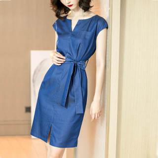 2019夏季新款法式优雅蓝色中长裙系带收腰显瘦短袖连衣裙女