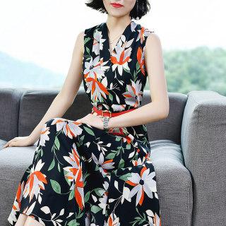 连衣裙仙女超仙新款甜美2019新款夏季碎花雪纺裙气质V领