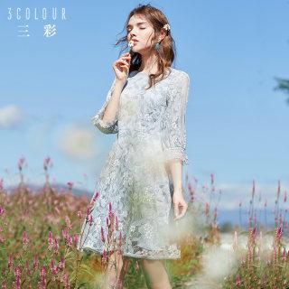 2019春季新款法国小众蕾丝裙喇叭袖修身七分袖连衣裙子女夏季
