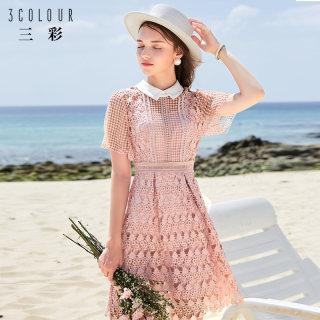 2019新款很仙的连衣裙夏款网纱赫本复古海边度假蕾丝裙